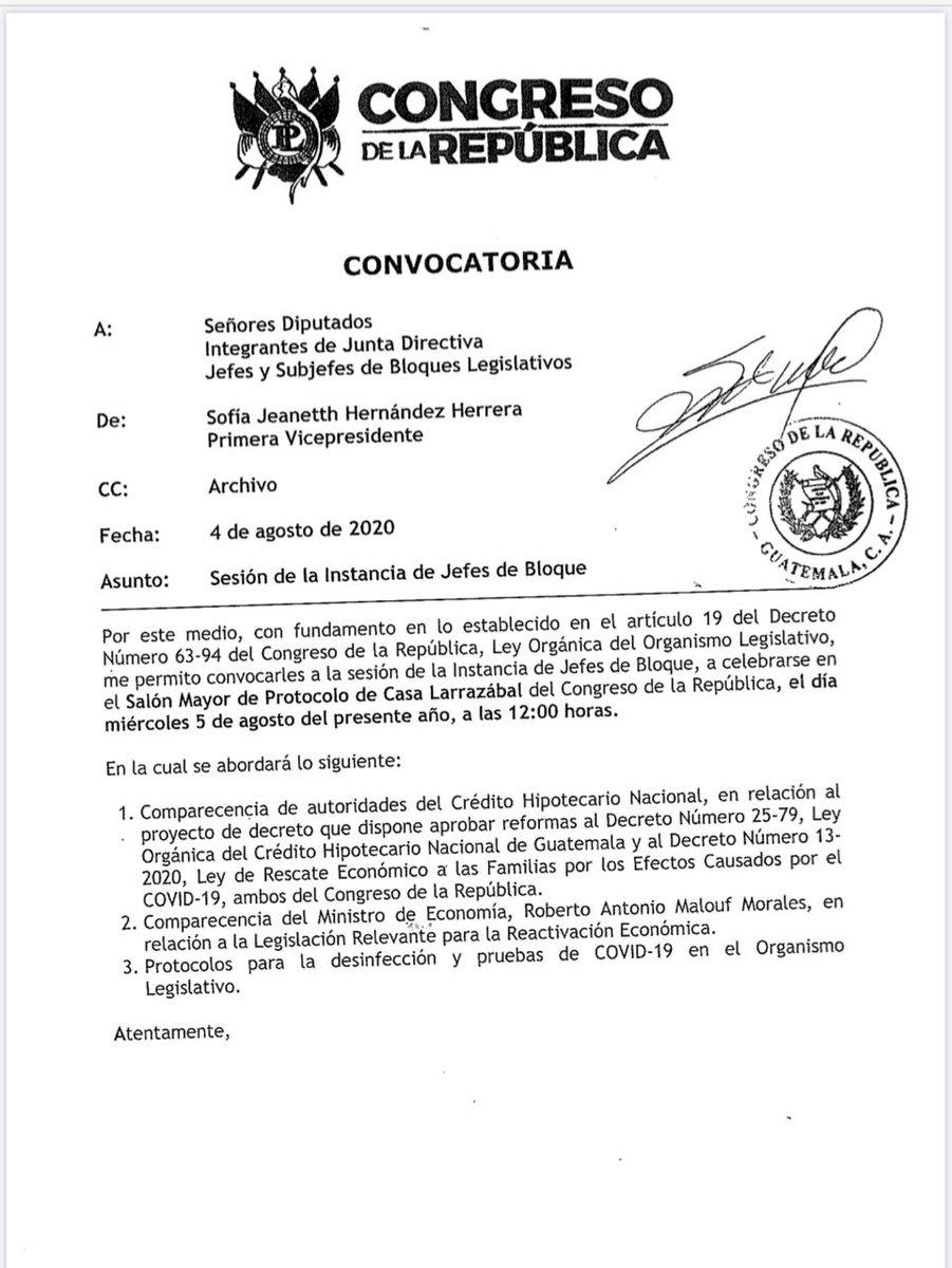 test Twitter Media - La Junta Directiva del Congreso de la República, convocó a los Jefes de Bloque a una reunión con el presidente del CHN y el ministro de Economía. https://t.co/a3GoUO1AeA