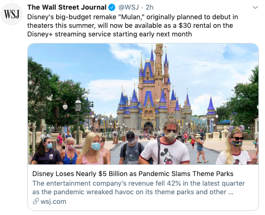 """Disney's """"Mulan,"""" originally planned to debut in theaters this summer, will be available to Disney+ subscribers to download for about $30 early next month (corrects an earlier tweet, which has been deleted, that said the movie will cost that much to rent) https://on.wsj.com/3ft8Q40pic.twitter.com/mIyALH9Cds"""