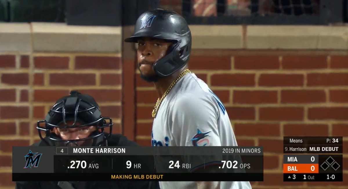 19,754th player in MLB history: Monte Harrison  - three-sport star at Lee's Summit HS in Missouri - 2nd round pick by MIL in 2014 - traded to MIA as part of the Christian Yelich deal in Jan. '18 - elite exit velos - older brother Shaq plays for the Chicago Bulls pic.twitter.com/htAM9CDLVf