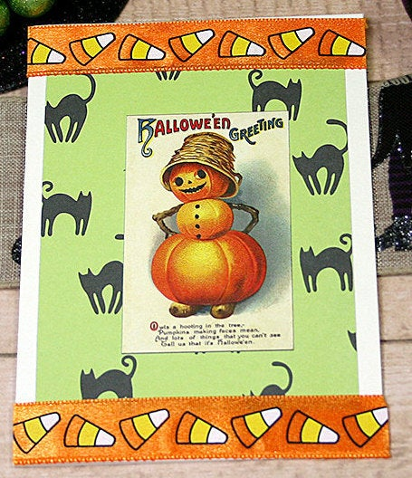 """Excited to share the latest addition to my #etsy shop: Halloween Greetings, Pumpkin Man with Hat Greeting Card, Trick or Treat, Scary & Sweet, Black Cats, Boo, Candy Corn, Basket - 4"""" x 5.5"""" https://etsy.me/2DDal2d #orange #halloween #green #birthday #vintage #scary #spic.twitter.com/jK02ydg3nS"""