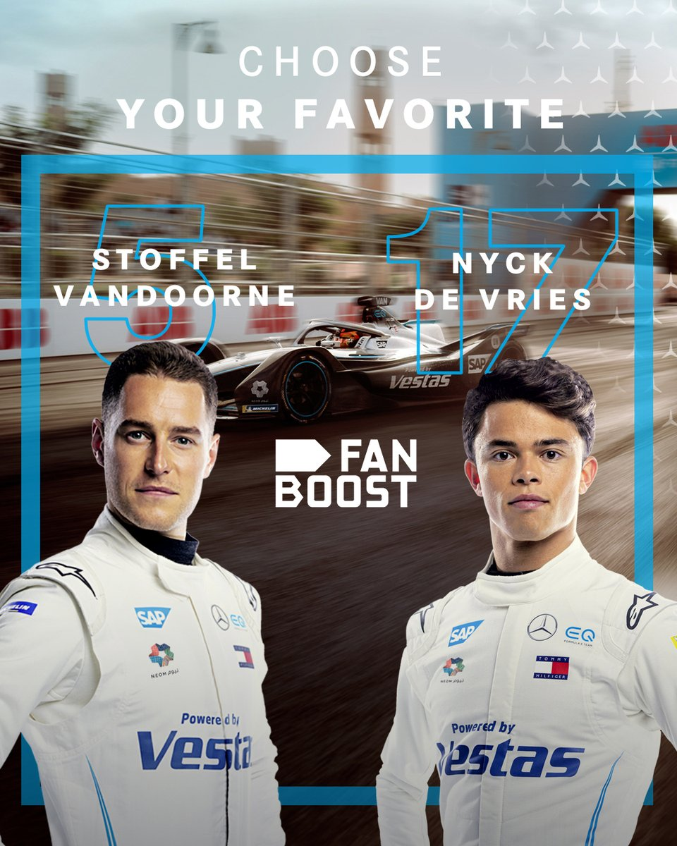 WE'RE BACK ⚡⚡⚡  With just a few more days to go until the first of six #BerlinEPrix rounds, #FANBOOST voting has opened. Tweet below to give @svandoorne and @nyckdevries the extra power boost at the big season restart! s #drivenbyEQ #ABBFormulaE https://t.co/e50bnJSCNE