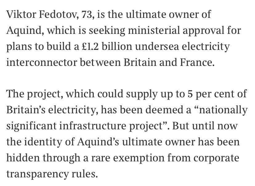 A crucial public infrastructure project has been shrouded in secrecy. @thetimes reveals the ultimate owner of it today, Viktor Fedotov. Who has give donations to FIVE - count them - FIVE cabinet ministers inc Rishi Sunak, Alok Sharma & Brandon Lewis