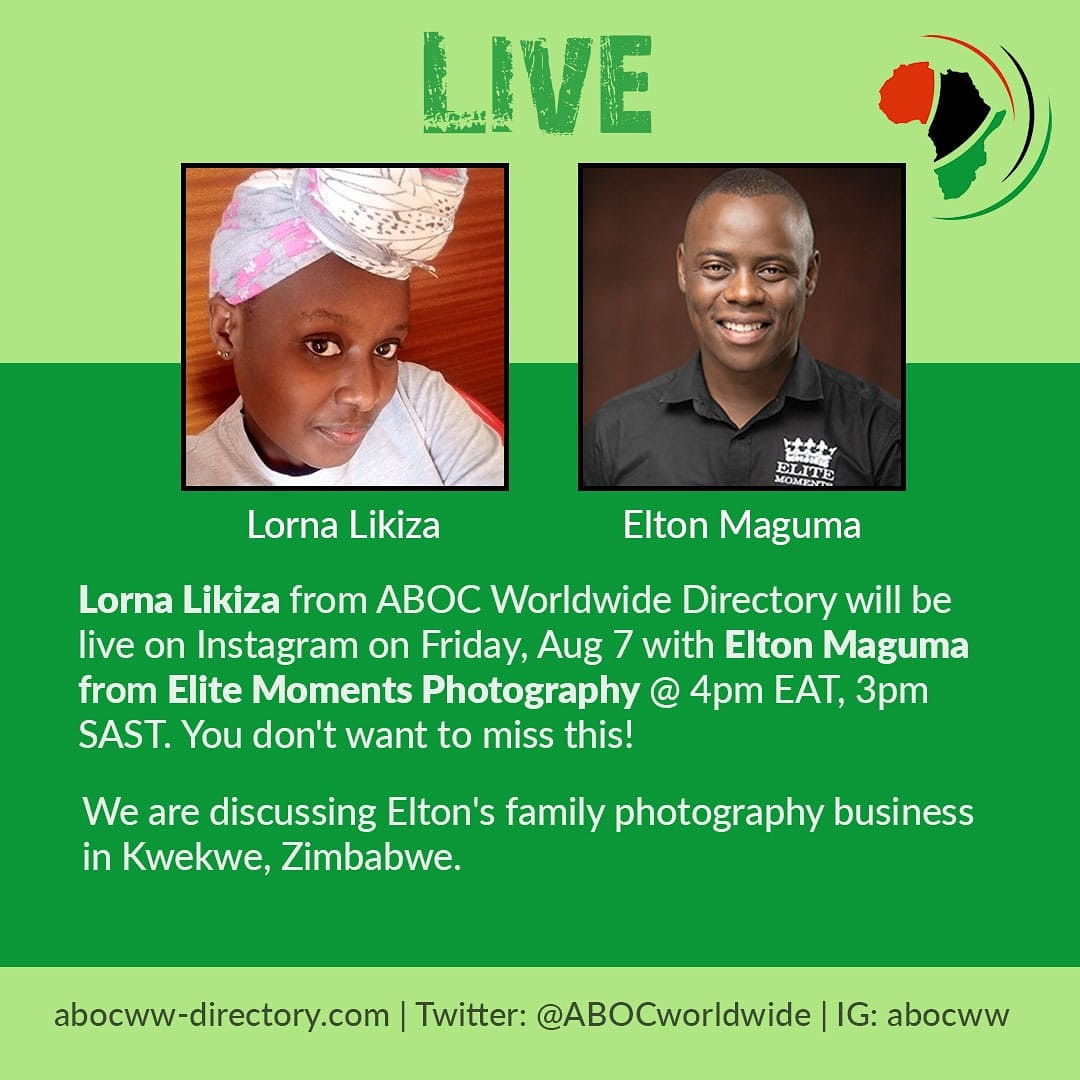 #savethedate @eltonmaguma in conversation with @lornalikiza on Friday, August 7 at 4pm EAT, 3pm SAST live on Instagram. We are going to get the entire scoop on this particular business! #zimbabwe #photography #weddingphotographer #weddings #photographybusiness #photographyisartpic.twitter.com/6anZaBprbH