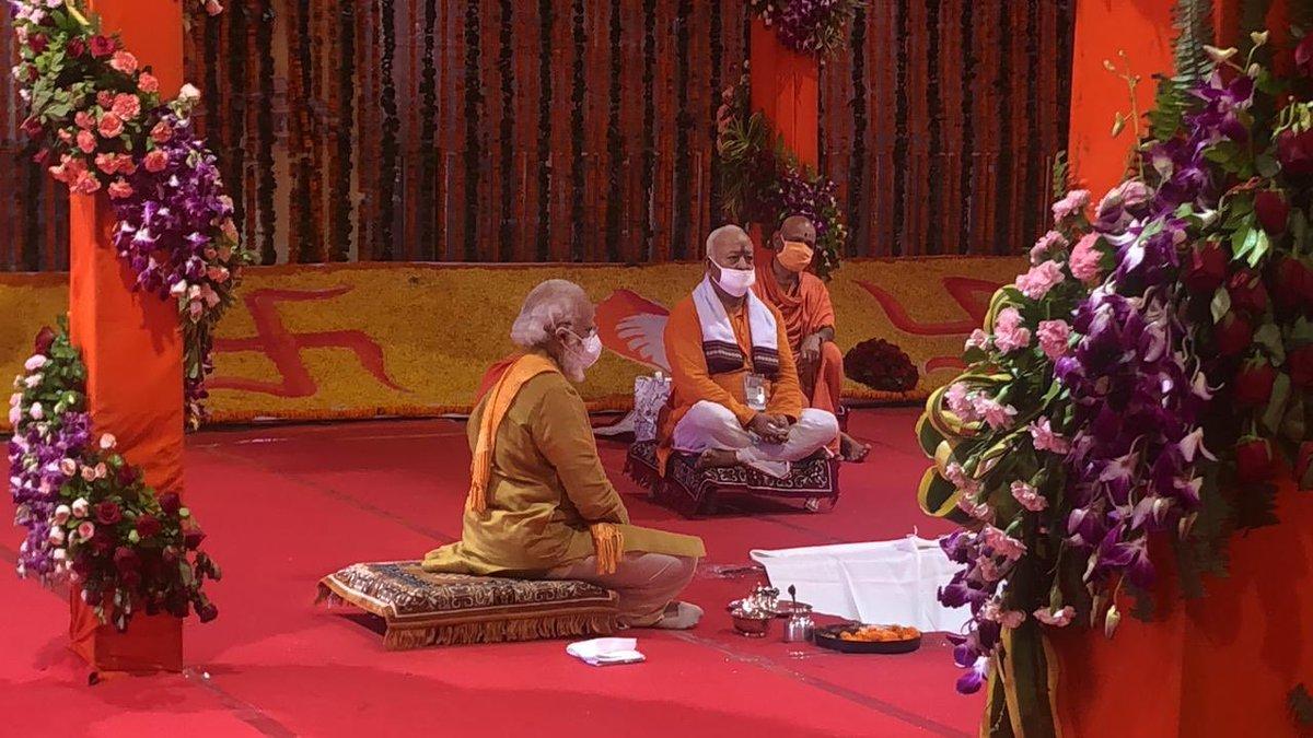 @PMOIndia at the bhoomi puja - ayodhya