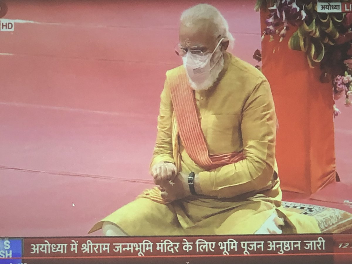 Several firsts today. First time a totally Hindu religious ceremony is telecast live from all TV channels, for the first time a sitting PM is acting as the Yajman, representing the entire nation. First time, India has got the PM who is unapologetically, assertively Hindu! pic.twitter.com/P3wR9eKEqC
