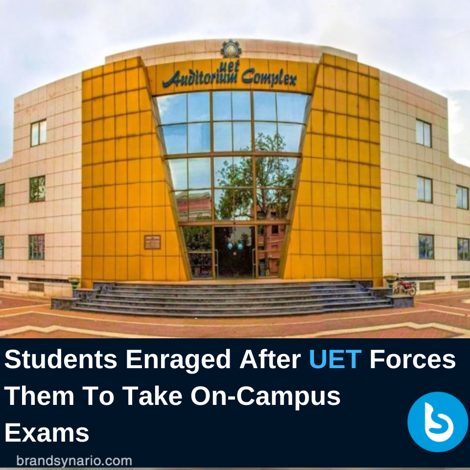 https://www.brandsynario.com/students-enraged-after-uet-forces-them-to-take-on-campus-exams/…  University of Engineering and Technology (#UET) Lahore has made a decision which is sparking outrage. pic.twitter.com/lNuP2w3rZT