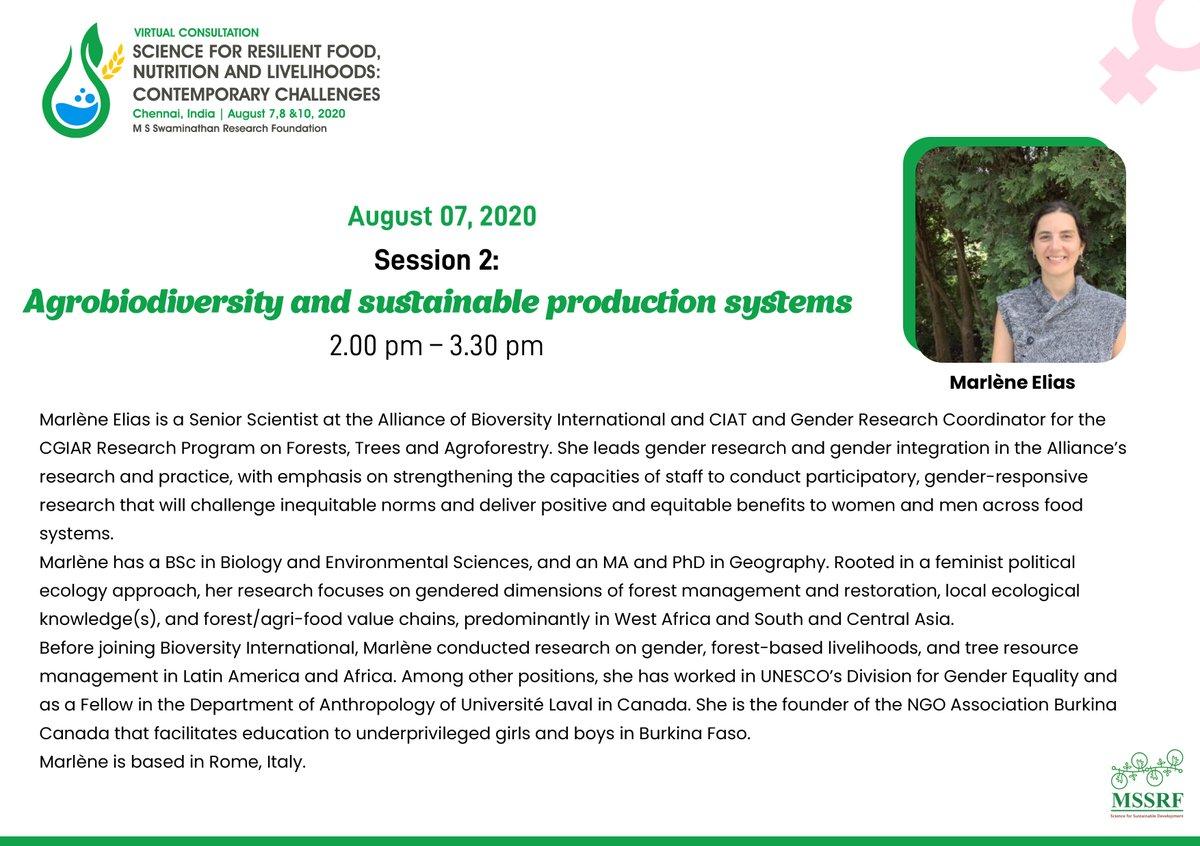 What are the gender dimensions in agrobiodiversity management? Marlene Elias & Pricilla Marimo, @BiovIntCIAT_eng  speak at #MSSRF2020 #SaveTheDate - Aug 7, 2 pm IST. #agrobiodiversity #gender #agriculture #food #nutrition #livelihoodspic.twitter.com/Ntrbeh8so6