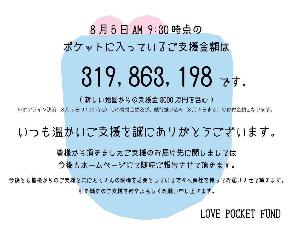 ■Information・8月5日AM9:30時点での皆様からのご支援金額のお知らせ・第5弾支援先決定のお知らせ#lovepocketfund#ラブポケットファンド