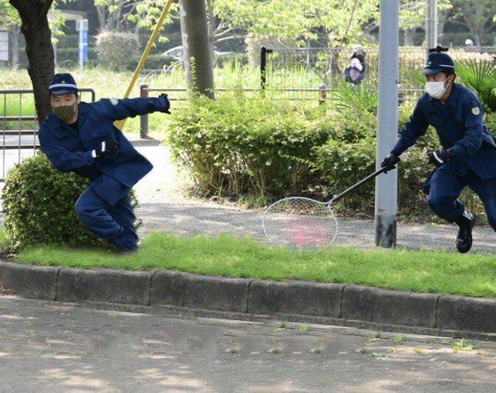 @YahooNewsTopics イノシシ消したら職務放棄して鬼ごっこしてる警官2人になった