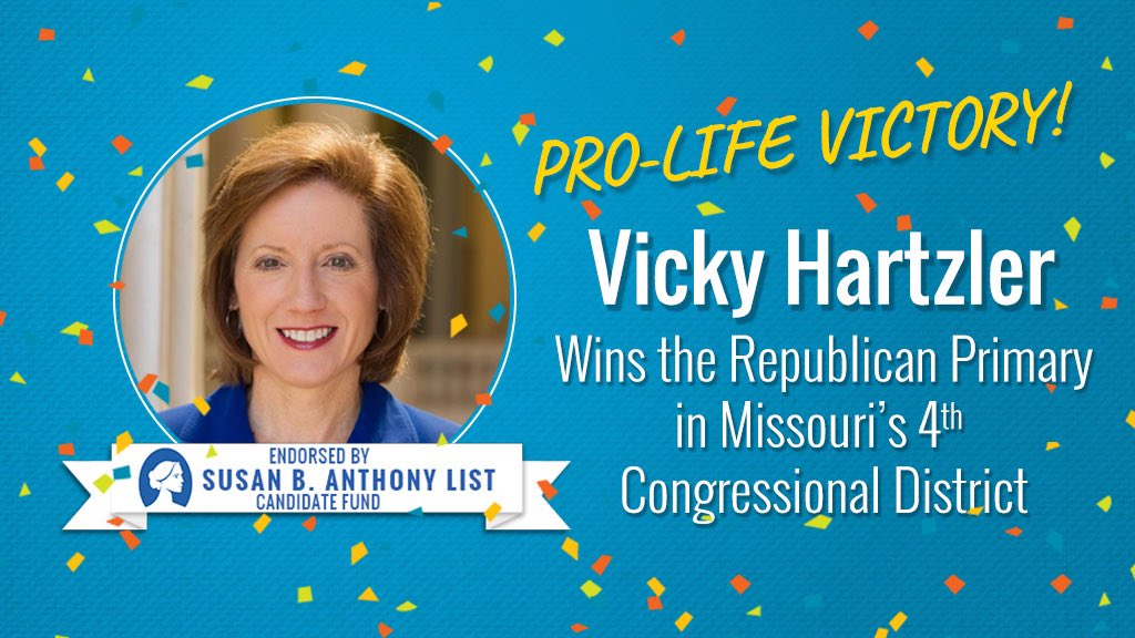 Congratulations @VickyH4Congress! Love to see the #prolife momentum in #MO04! #sbalistendorsed #prolifevictory https://t.co/NsQSyb1RdZ