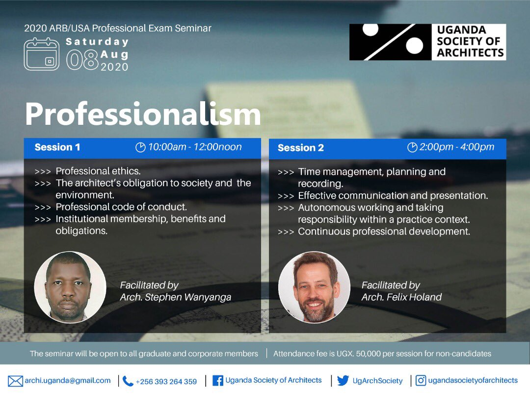The Seminar on Professionalism is on this weekend! Have you registered your attendance? All payments should be deposited to the USA account or mobile money to 0787160530. @NewplanGroup @KKCONSULTINGAR1 @ArchForumUganda @Arch_KE @architectandre @ArchSsinab @ASA_IUEA @ARBUganda https://t.co/diewXPb2TY