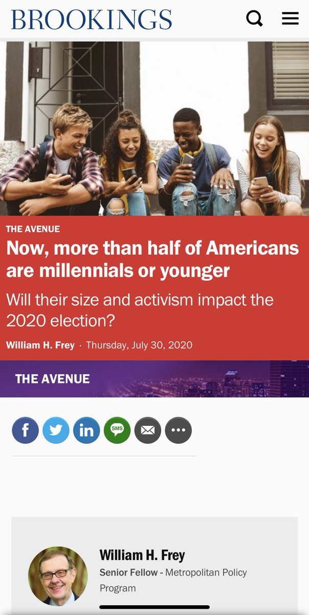 "It comes, unsurprisingly, from William Frey at Brookings, who for years has rivaled Pew in the senseless hawking of ""generations,"" using the bold claim that ""time continues to pass as people age"" to generate clicks. pic.twitter.com/nyI9nswELc"
