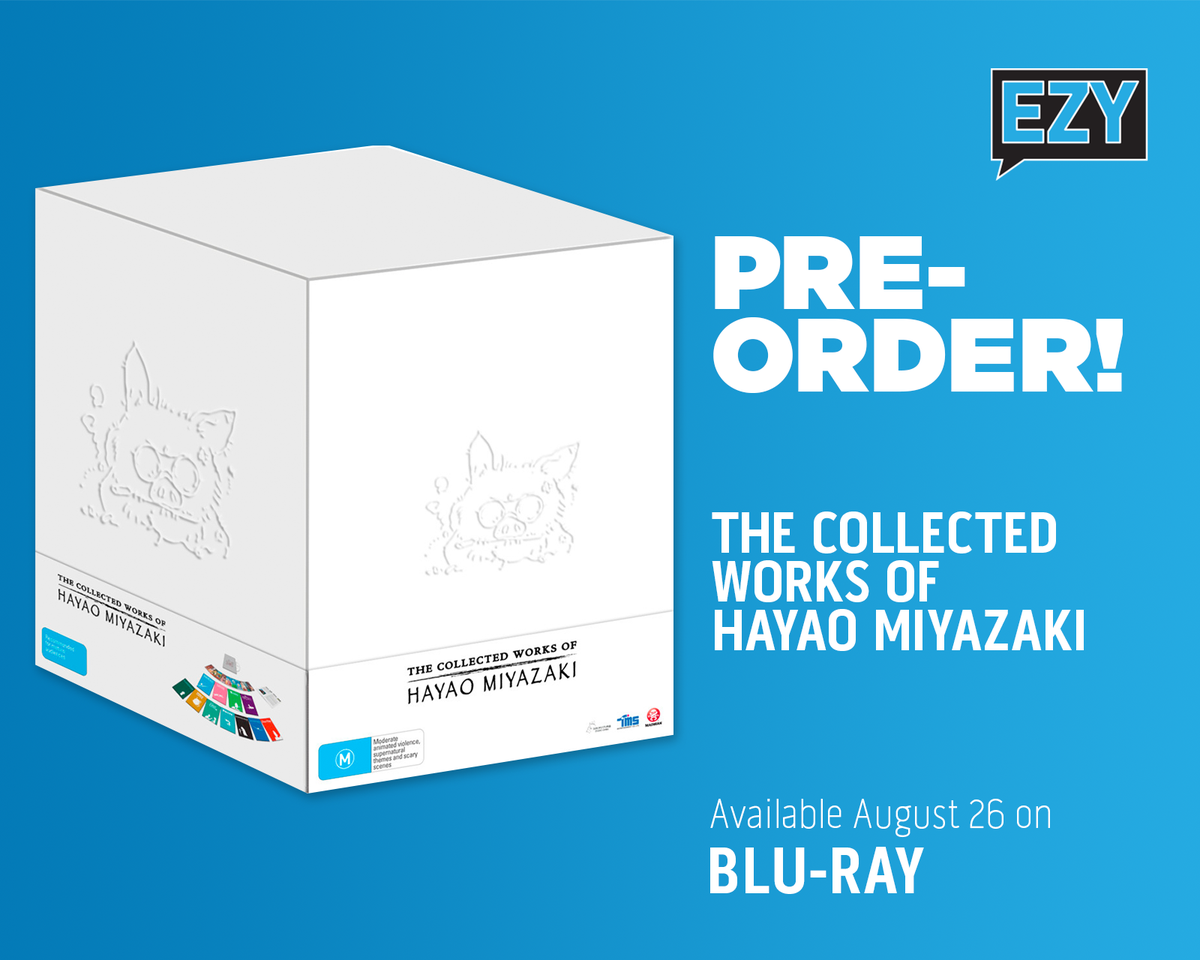 The Collected Works of #HayaoMiyazaki is coming August 26! Contains 11 feature films, bonus postcards, a 32-page booklet, a bonus disc featuring rare early works and more!  Don't miss out, pre-order now! - https://bit.ly/33rhduy   #BluRay #Miyazaki #EzyDVD #CollectorsEdition pic.twitter.com/vHYd5ZSvD3