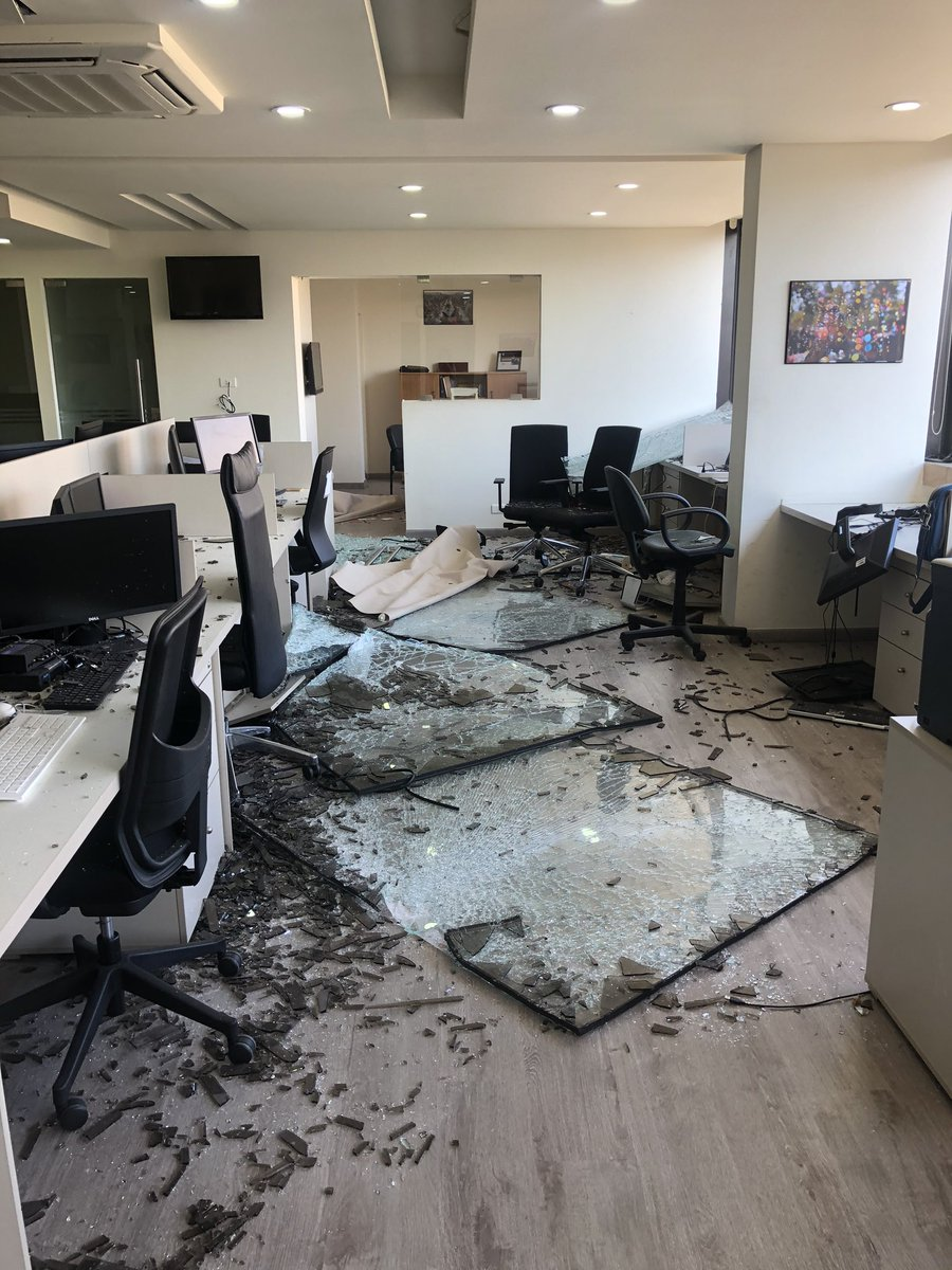 The coronavirus saved us. This is our AP office this morning #Beirut_Explosion