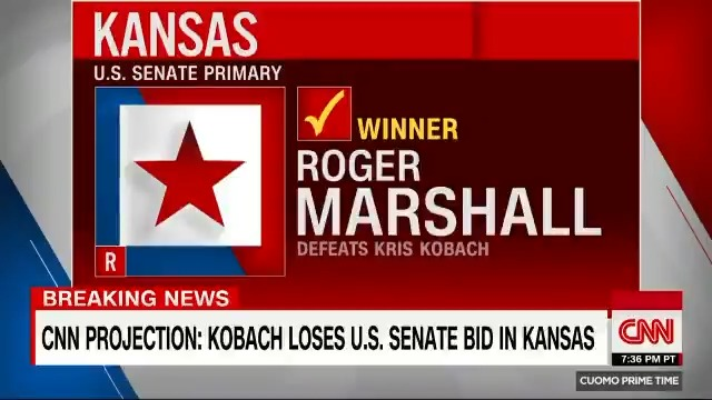 Rep. Roger Marshall has won the Kansas GOP Senate primary, defeating the state's divisive former Secretary of State Kris Kobach, CNN projects https://t.co/chKsM1C4vr https://t.co/I8U9BkNO3w