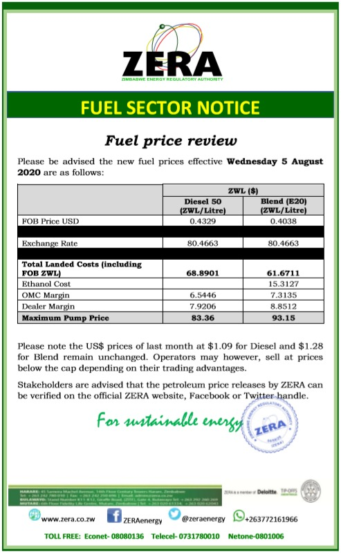 ZERA has hiked fuel prices
