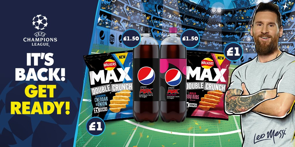Get ready for the UEFA Champions League with Walkers Max Double Crunch and Pepsi Max #walkers #pepsi #ucl #UEFApic.twitter.com/GmUadOjrI6