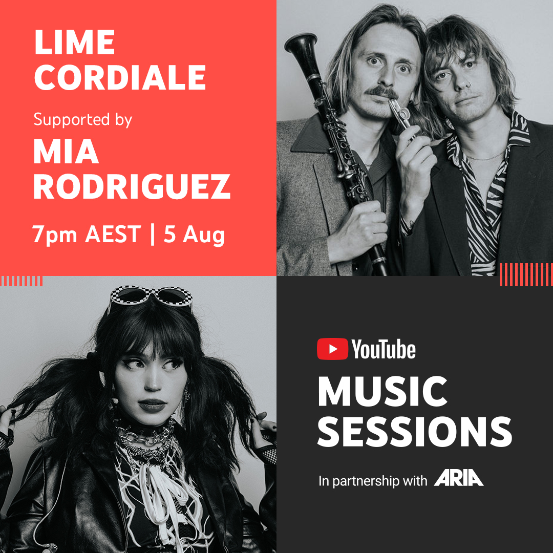 Tune in for #YouTubeMusicSessions tonight, 7pm AEST. Watch @MiaRodriguezOfficial take the @YouTube stage with her first-ever live performance of dark pop banger Psycho before @LimeCordiale performs 🔥 new tracks fresh from their #1 ARIA album release → https://t.co/LPBtI5QD23 https://t.co/kMYJEJxj5z
