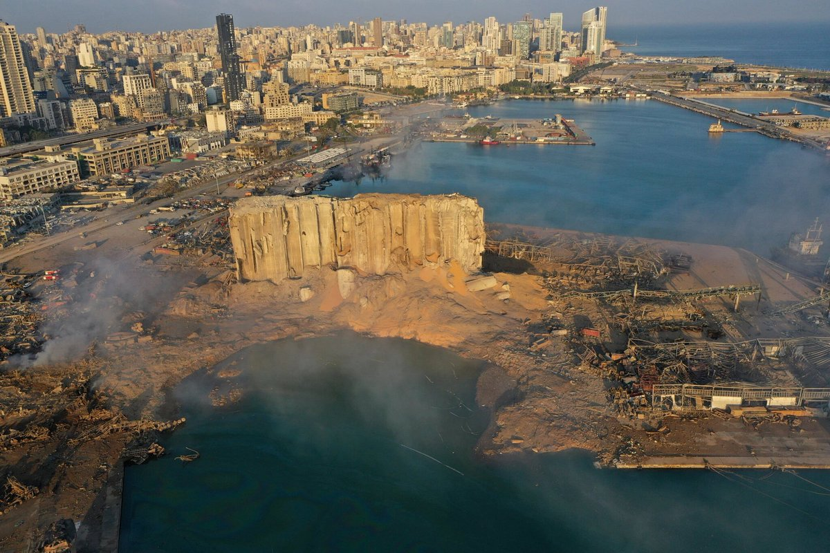 Beirut: Aerial view of the devastation. (Credit: Hussein Malla/AP)
