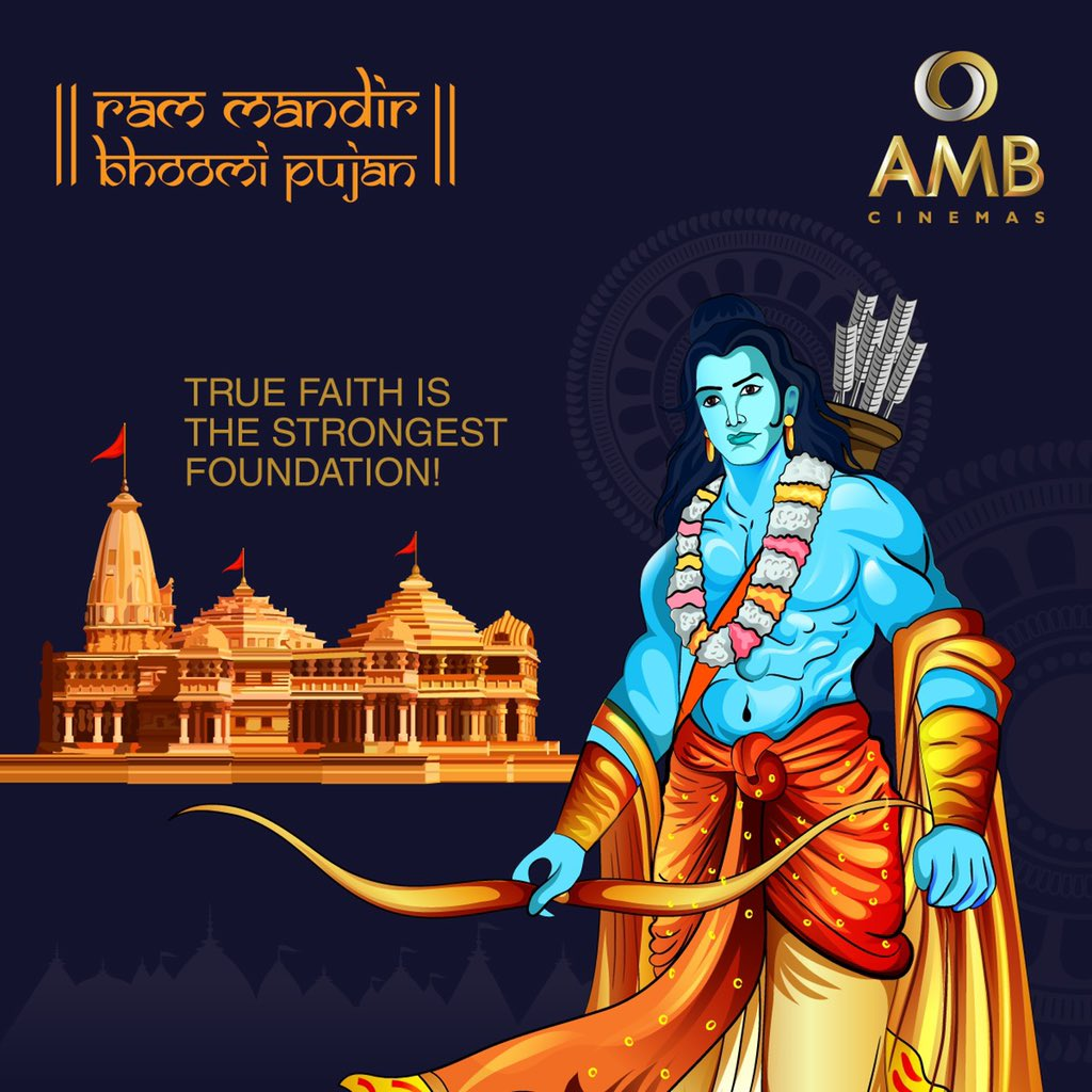 The Ram Mandir in Ayodhya is of historical significance to the devotees of Lord Ram. Lets all come together to celebrate this auspicious occasion in peace, harmony, and unity! #RamMandir #BhoomiPoojan #RamMandirAyodhya #RamMandirBhoomiPoojan #HistoricalSignificance #AMBCinemas