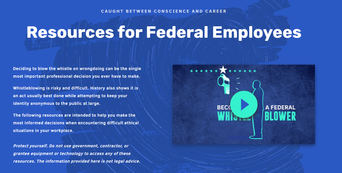 4. We write, Reputable organizations are at the ready to advise whistle-blowers about the risks and benefits of pursuing these paths. We link to this page at @POGOBlog pogo.org/federal-employ…