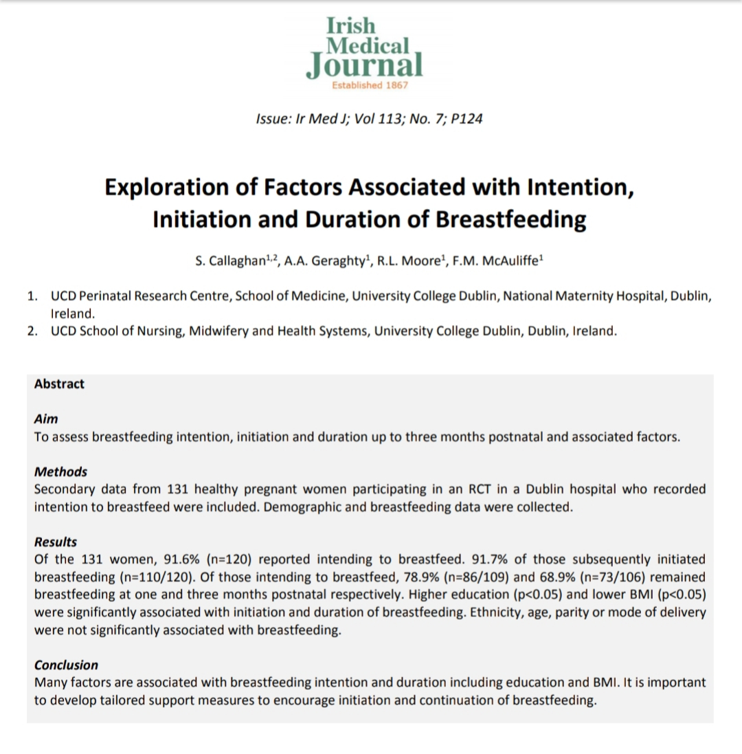 Delighted to have this paper published @IrMedJ looking at Irish women intending to breastfeed & factors associated with subsequent breastfeeding🤱Amazing breastfeeding rates & highlighting areas where we can help support women & families further🤩And just in time for #WBW2020 https://t.co/Qgb8CIXyZC