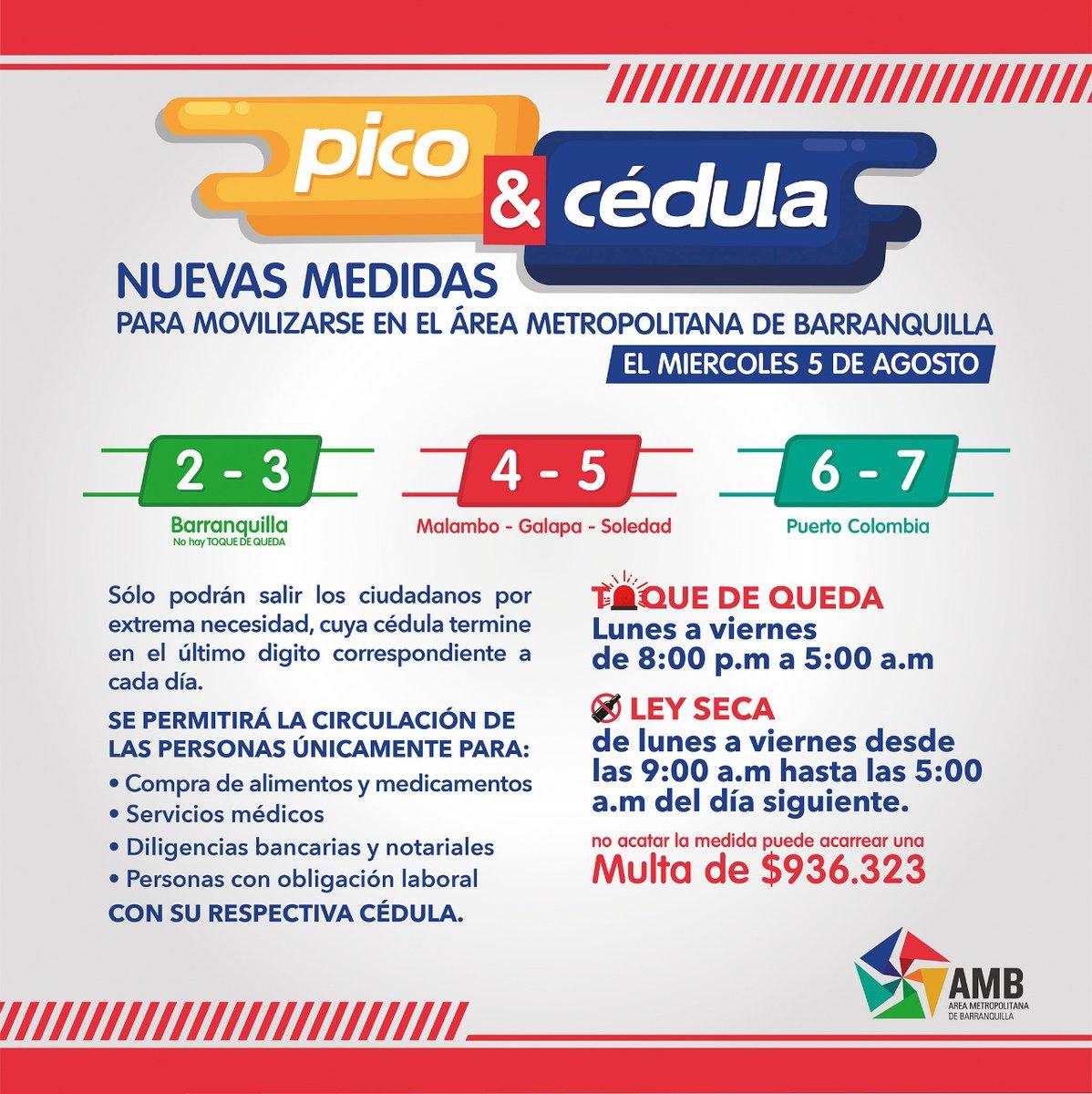 """¡Buenos días! ☀️ Le recordamos el """"Pico y Cédula"""" entre B/quilla y su Área Metropolitana para aquellas personas, cuya cédula termine en el último dígito correspondiente a cada día.  📍Barranquilla: 2️⃣ y 3️⃣  📍Malambo, Galapa y Soledad: 4️⃣ y 5️⃣  📍Puerto Colombia: 6️⃣ y 7️⃣ https://t.co/JqC2KmotMG"""