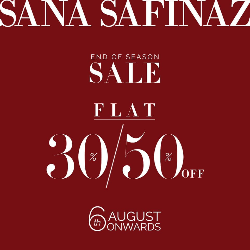 To all our lovely patrons, it's that time of the year again.  Our End of Season Sale starts on August 6th in-stores and online. Shop your favorite unstitched and pret designs at flat 30% and 50% off  You don't want to miss out!  #SanaSafinaz #SanaSafinazSale #EndOfSeasonSalepic.twitter.com/xDewpeAgOT