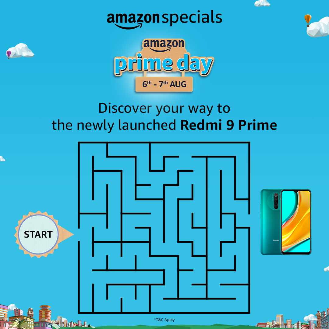 #ContestAlert Discover your way to the all-new Redmi 9 Prime. Solve the maze by taking a screenshot & highlight the correct route! Share it with us @AmazonIN along with #AmazonPrimeDay #AmazonSpecialsRedmi9Prime & stand a chance to win Redmi 9 Prime  T&C: https://t.co/jaeep6XyKC https://t.co/P70H9pW9oT