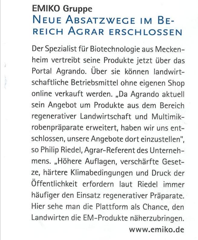 """EMIKO in der aktuellen Ausgabe von """"Die Wirtschaft"""" der IHK Bonn/Rhein-Sieg @IHK_Bonn  #emiko #agrar #agrando #landwirtschaft #effektive #Mikroorganismen #Absatzwege #biotechnologie #meckenheim #shop #produkte #plattform  https://t.co/Lg7995Q1FD https://t.co/Qm3MTKnL1R"""