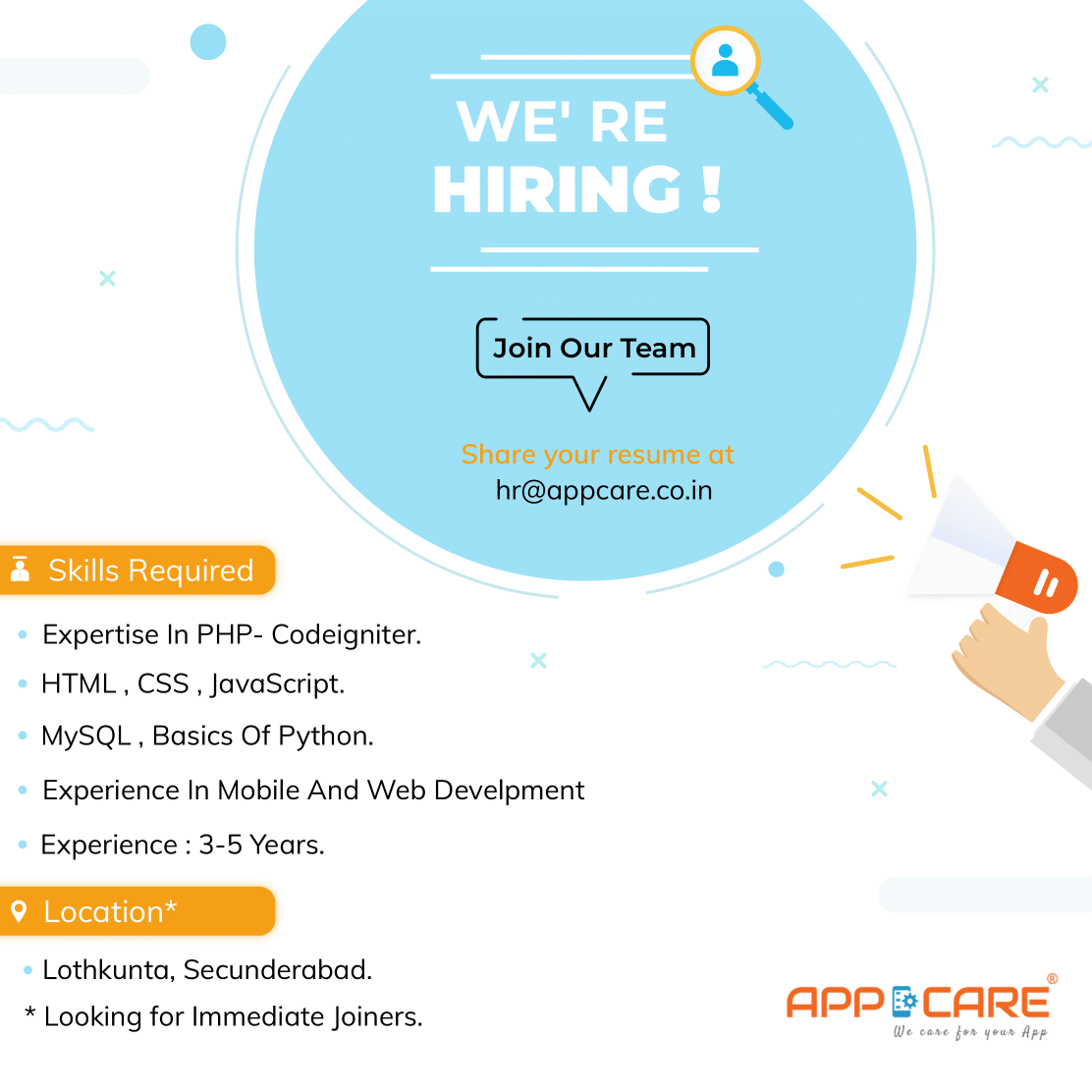 We are looking for the immediate joiners , Apply to Join our Appcare Team . #hiringdrive  #app #appdevelopment #appdeveloper  #appdevelpmentcompany #android #androiddevelopment  #androiddeveloper #iosdevelopment #appdevelopmentcompany #iosdeveloper #webdesign #webdevelopmentpic.twitter.com/zTRRQppMYp