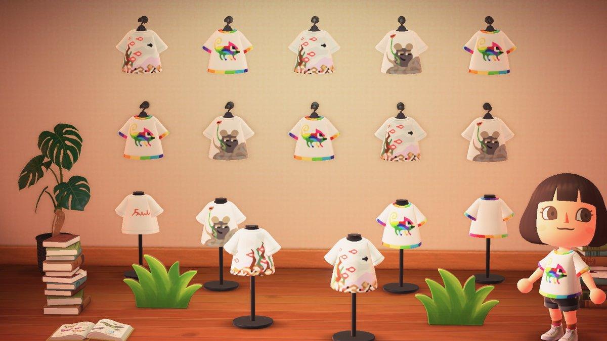 レオ・レオニの絵本Tシャツ3種作りました。『じぶんだけのいろ』(カメレオン)『スイミー』『フレデリック』#あつ森 #どうぶつの森 #AnimalCrossing #ACNH #NintendoSwitch#マイデザイン