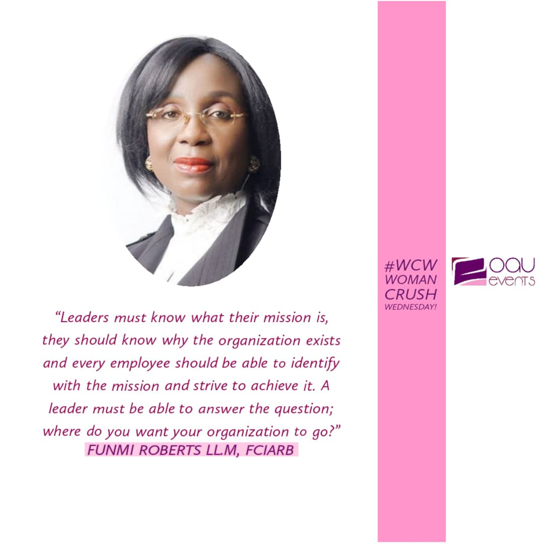 She believes she can and she does.  Our Woman Crush Wednesday for today is an OAU Alum, Mrs. Funmi Roberts of @funmirobertsandco  #funmiroberts #lawyer #wcw #oauevents #businesspassion #business  #entrepreneurship #grind #hustle #learn #education #startup #success #successquotespic.twitter.com/08SMz6BEqj