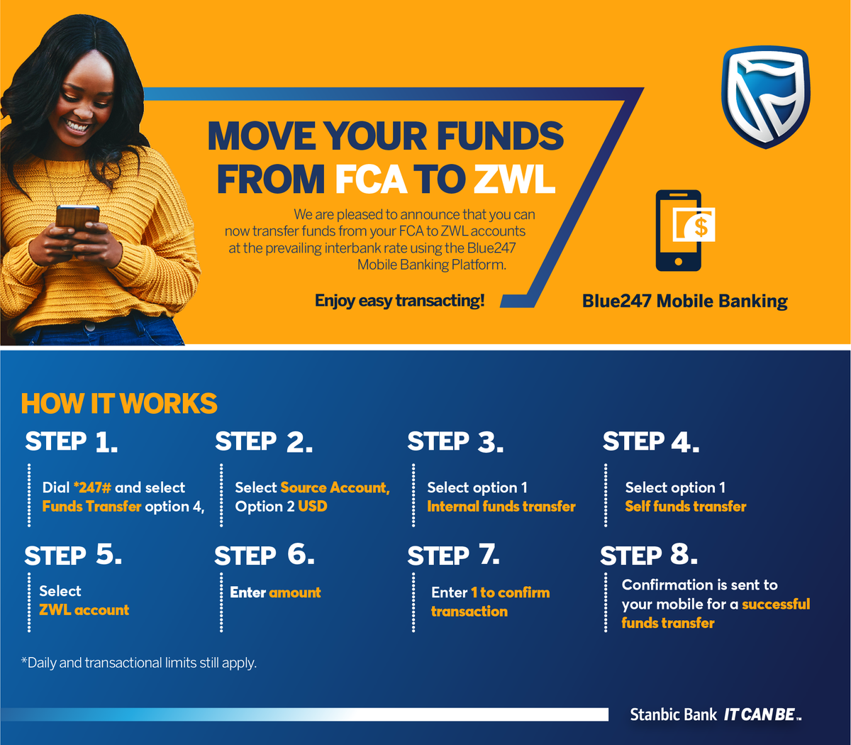 Great news!  You can now use Blue247 to perform local USD internal and interbank transfers to USD or ZWL accounts direct from your Foreign Currency Account. Simply dial *247#  and follow the easy steps below #ItCanBe #Blue247pic.twitter.com/CXQVQSuA3D