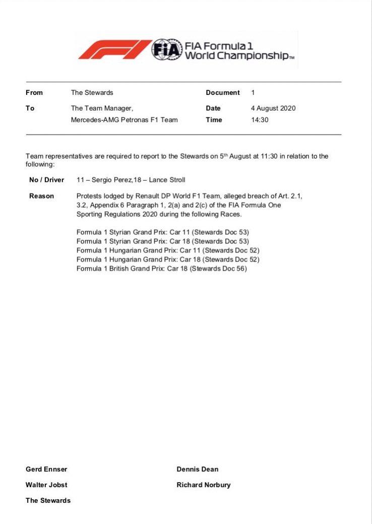 """🧑⚖️ Audition des représentants des écuries Renault, Racing Point et Mercedes dans l'affaire des écopes de frein """"Mercedes"""" de la Racing Point. #F1 https://t.co/7bwDfAZNQ7"""