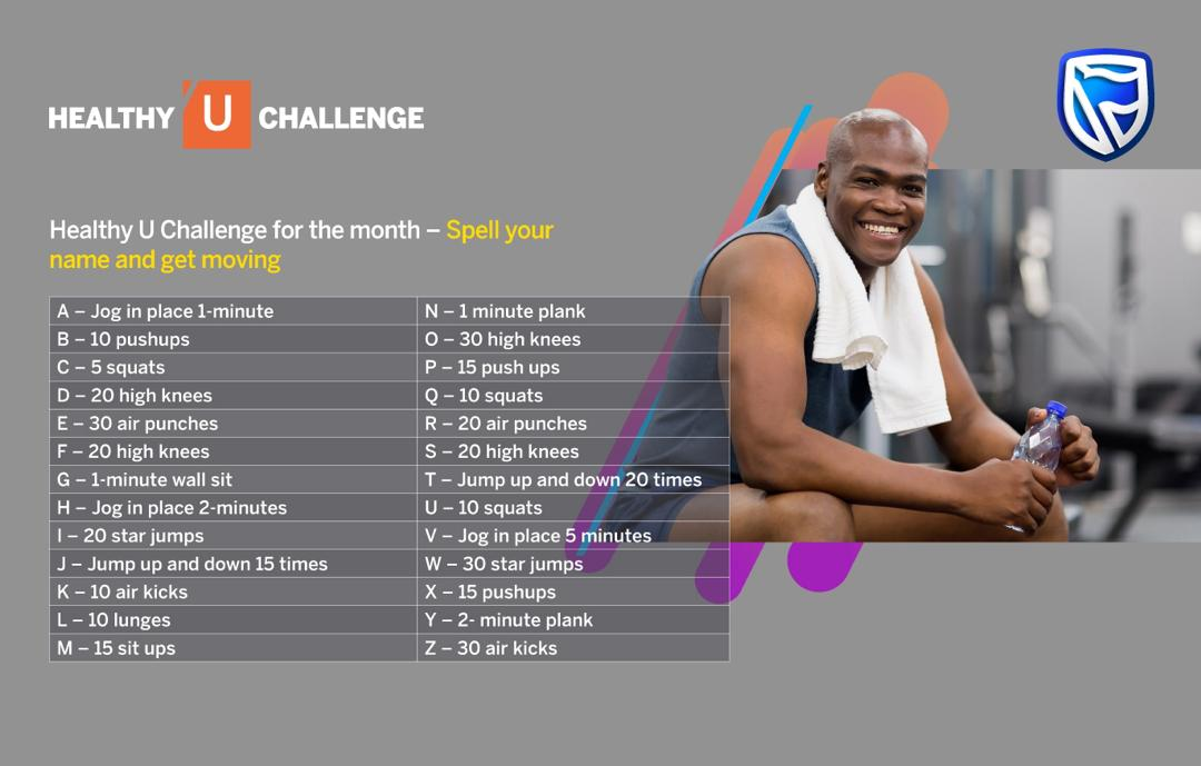 Keeping Fit CAN BE fun Take part in this month's Healthy U Challenge and you can have a little fun while getting your cardio going . What exercises does your name spell out? #ItCanBe #Fitness #BeMorepic.twitter.com/BUsMX1ty4e
