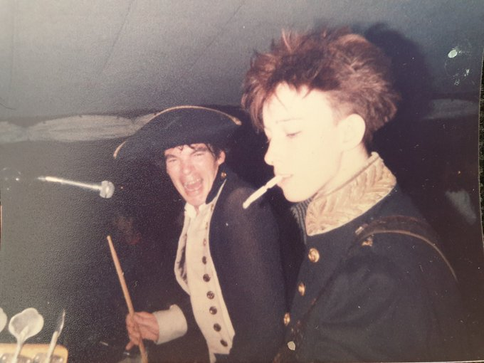 """Happy 35th Birthday to 'Rum Sodomy and The Lash'! Released August 5th 1985 - The Clobberer suggested the title as it """"summed up life in the band""""😂🏴☠️💚 Here's a pic of me winning a bet at the launch party #happybirthday #pogues #OTD https://t.co/1vf6fDszIA"""