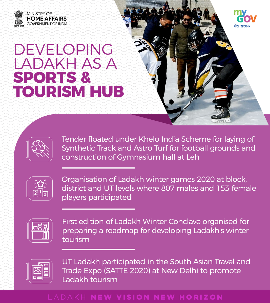Khelo India Scheme is developing Ladakh as a hub for sports and Tourism. #OneYearOfDevelopment https://t.co/D5UL7YGQLx https://t.co/cVBVWSO4Cc