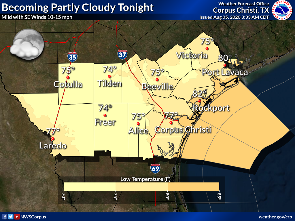 Skies will become partly cloudy late tonight with southeast winds of 10 to 15 mph. Lows will be in the mid to upper 70s, with lower 80s along the coast. #txwx #stxwx