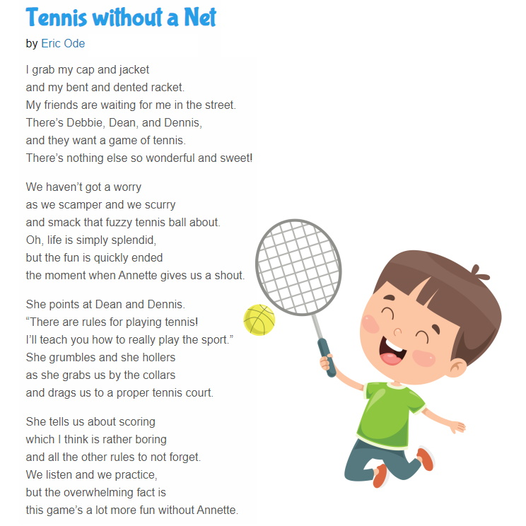 """Today's funny poem for kids: """"Tennis without a Net"""" by @authorericode Eric Ode. https://t.co/b81n7g8zhx #funny #sports #tennis #poetry #children https://t.co/ltvuW2a6H0"""