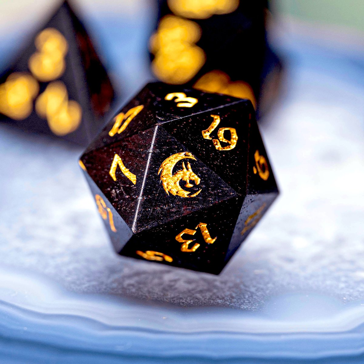 Ebony wooden dice set with dragon symbol 🧙‍♂️ #dnd #dice #ttrpg #dungeonsanddragons