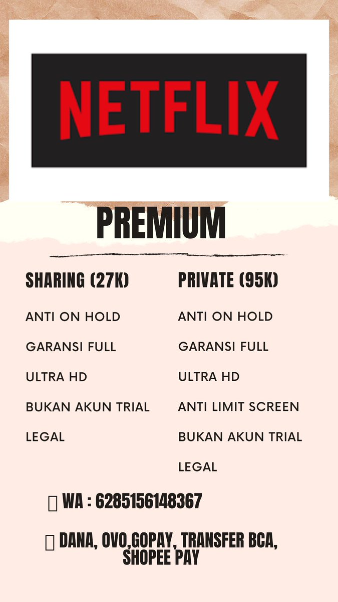 @cacilll @ohaana13 Gustiii ai si cornet, teu boga ka era ih. Daripada kikituan mah mending meuli netflix. Yeuh urang dagang netflix.  JUAL NETFLIX PREMIUM 💸 SHARING 27K & PRIVATE 95K 📌 ANTI ON HOLD 📌 UHD 📌 BERGARANSI 📌 LEGAL WA : 085156148367 https://t.co/wptNlWaTlT
