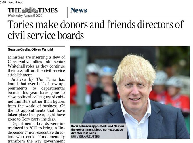 The Times: Tories make donors and friends directors of civil service boards A tell-tale sign of a country sliding into Putin-style kleptocracy. Dont say it couldnt happen here. Its happening right under our noses. #crooks #ToryCorruption