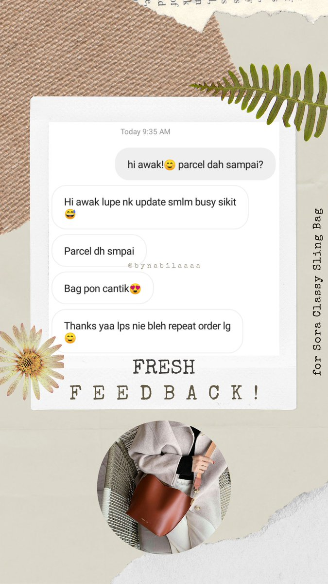 oh ya! here's a few feedbacks from customers about Sora Classy Sling bag pic.twitter.com/BFMGgCQk35