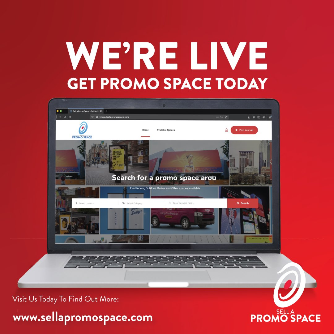 Guys, we are LIVE! Check us out at http://www.sellapromospace.com to see where you can advertise or where you can offer advertising space. #sellapromospace #promotionalspace #advertising #businesslaunch #wearelive #marketingpic.twitter.com/DuNbOxLTD5