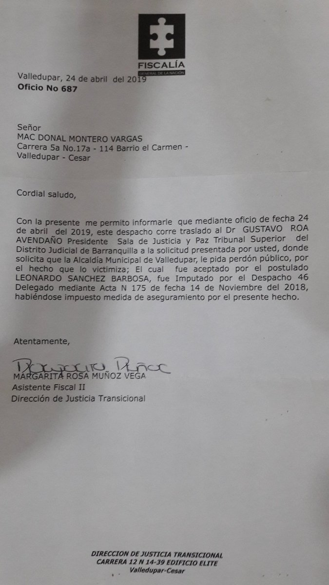 .Es tan descarado el @FiscaliaCol GRAL BARBOSA que sostiene en el puesto a la corrupta y bandida FISCAL 46 de JUSTICIA y PAZ MAGALI ÁLVAREZ BERMÚDEZ q NO compulso copia a la justicia ordinaria para que investigarán a los funcionarios públicos q tuvieron vínculos con PARAMILITARES https://t.co/861veQGFQp