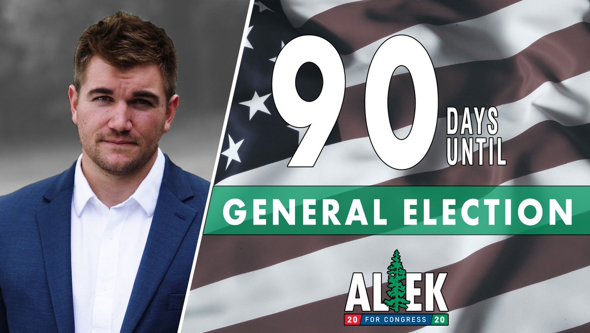 Less than 13 weeks to go until Election Day! My team and I are hard at work every day to bring fair and balanced representation to Oregons 4th Congressional District. Send me to D.C. so that I can fight for you. #FlipThe4th #OR04 #Alek2020 #BeatPete #DumpDeFazio