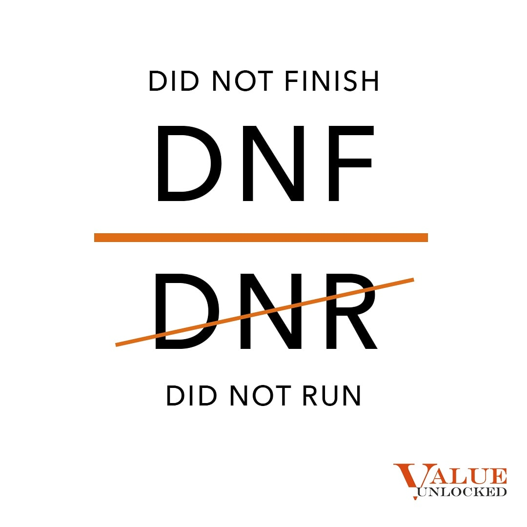 Did not finish (DNF) means that at least you gave it your best shot, Did not run (DNR) means you didn't even start! This is true not just for running, but every activity or goal. What does your DNR look like?  #wellbeing #wisdomwednesdays #DNR #DNF https://t.co/C9vGmLeFCj