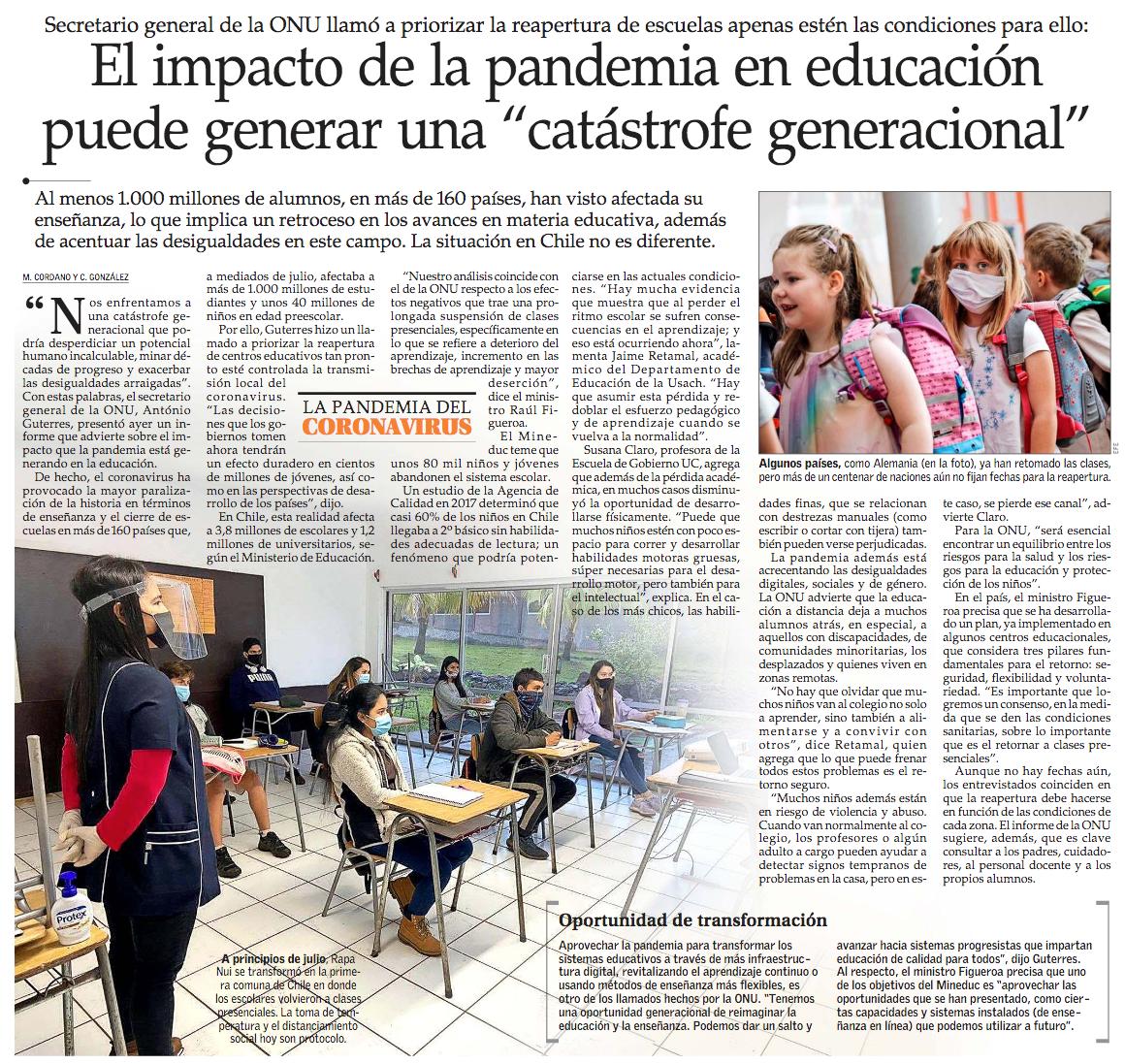 El secretario general de la ONU, António Guterres, presentó ayer un informe en el que advierte sobre el impacto que la pandemia está generando en la educación. Al menos 1.000 millones de alumnos, en más de 160 países, han visto afectada su enseñanza. #VCTElMercurio https://t.co/wYvlB47gWp