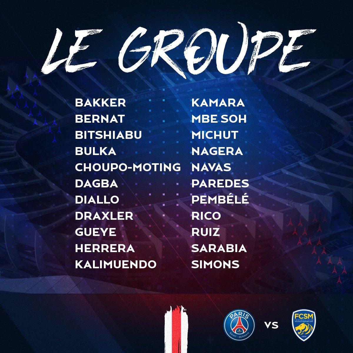 Groupe PSG contre Sochaux